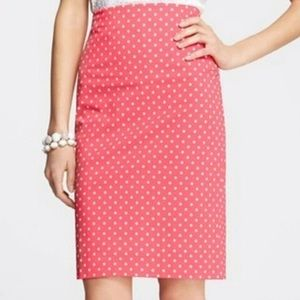 Ann Taylor Pink Polka Dot Pencil Skirt